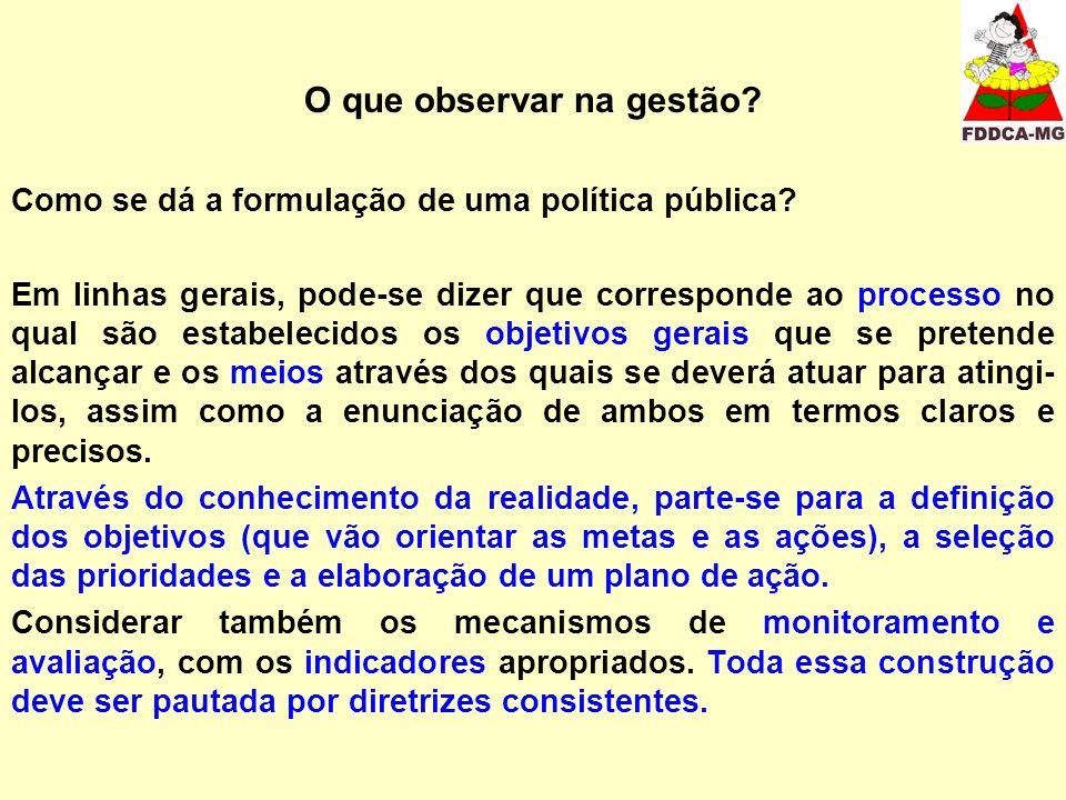 O que observar na gestão.Como se dá a formulação de uma política pública.