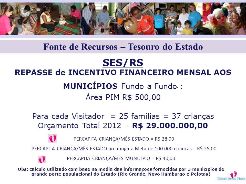 Fonte de Recursos – Tesouro do Estado. SES/RS REPASSE de INCENTIVO FINANCEIRO MENSAL AOS MUNICÍPIOS Fundo a Fundo : Área PIM R$ 500,00 Para cada Visit