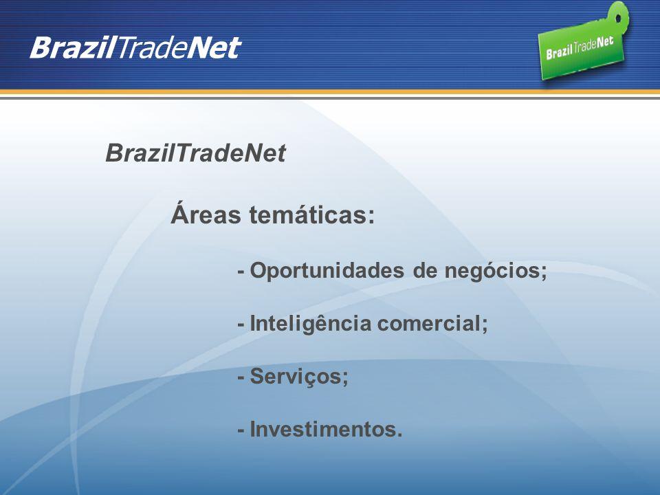 BrazilTradeNet Áreas temáticas: - Oportunidades de negócios; - Inteligência comercial; - Serviços; - Investimentos.