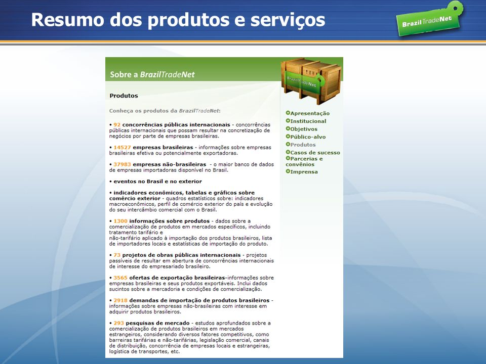 Resumo dos produtos e serviços