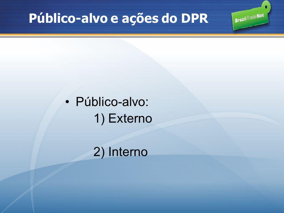 Externo: mostrar a verdadeira face do Brasil ao Mundo População: 185 milhões Área: 8,5 milhões km 2 PIB: PIB (PPP): US$ 1,838 trilhões PIB Real: US$ 1,269 trilhões Crescimento : 5,4% Crescimento industrial: 4,9% Investimento: 17,6% do PIB US$ 34,6 bi de IDE Consumo das família 60,9% do PIB Superávit Comercial US$40 bilhões Reservas internacionais US$194,1 bilhões Dados do Brasil (2007) Sources: World Bank, IBGE, Ipeadata, CIA e BC Bangladesh Nigéria Paquistão Indonésia Índia Japão MéxicoEspanha Itália Reino Unido Coréia do Sul Alemanha França Canadá Austrália China Brasil Rússia EUA Holanda População > 150 milhões Área total > 5 milhões Km 2 PIB > U$ 600 bilhões