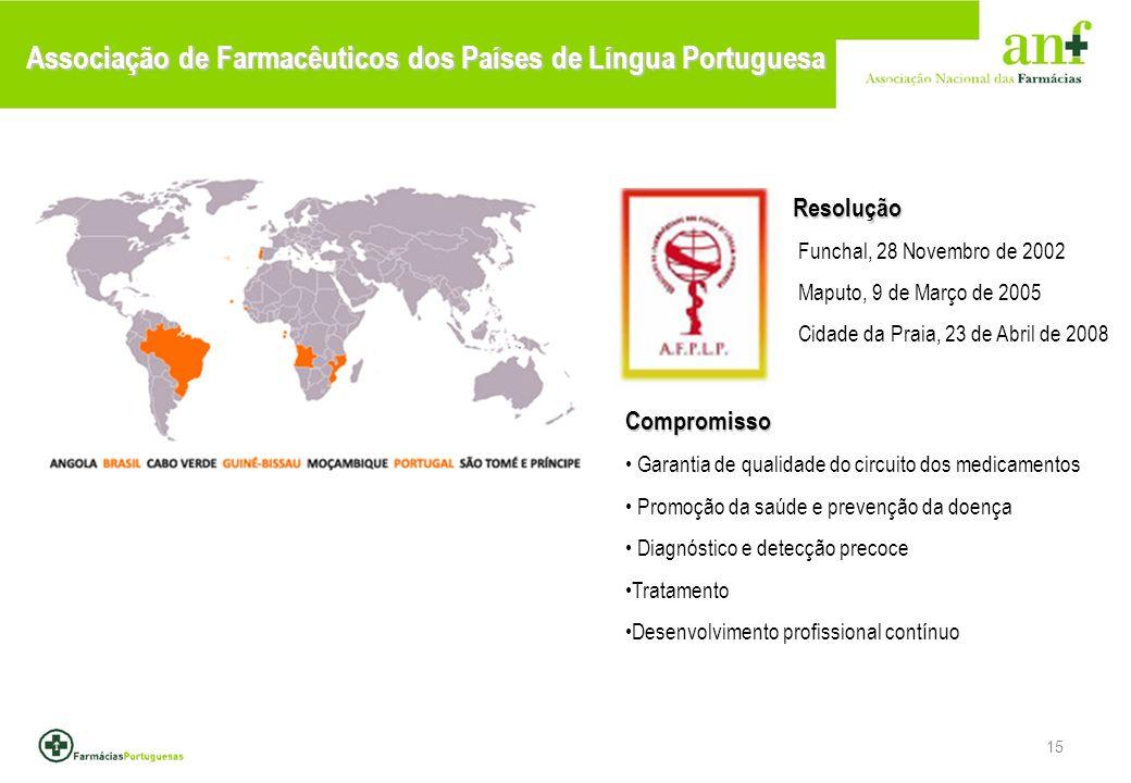 15 Associação de Farmacêuticos dos Países de Língua Portuguesa Resolução Resolução Funchal, 28 Novembro de 2002 Maputo, 9 de Março de 2005 Cidade da Praia, 23 de Abril de 2008Compromisso Garantia de qualidade do circuito dos medicamentos Promoção da saúde e prevenção da doença Diagnóstico e detecção precoce Tratamento Desenvolvimento profissional contínuo