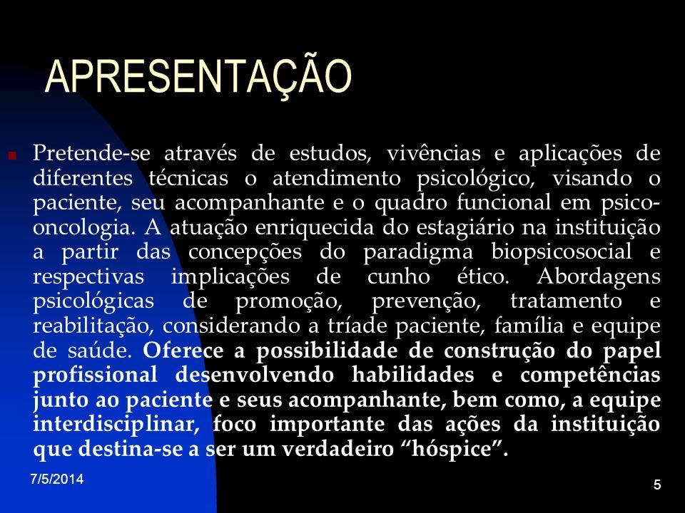 7/5/2014 6 ESTÁGIO EXTRA-CURRICULAR EM PSICO-ONCOLOGIA META: Exercício da Psicologia Hospitalar FOCO: Psico-Oncologia e Cuidados paliativos