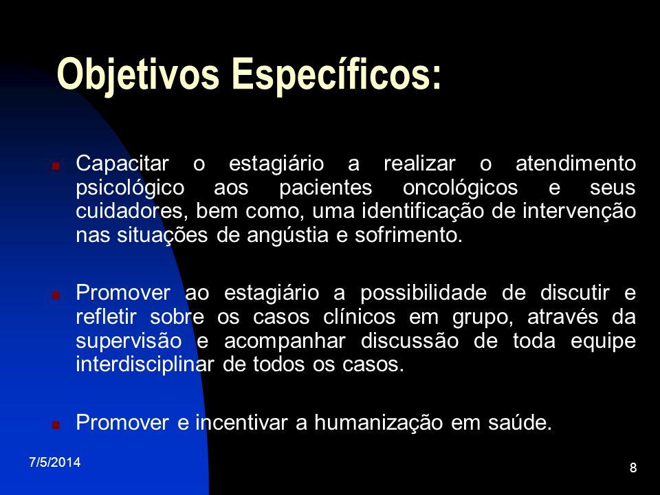 7/5/2014 8 Objetivos Específicos: Capacitar o estagiário a realizar o atendimento psicológico aos pacientes oncológicos e seus cuidadores, bem como, uma identificação de intervenção nas situações de angústia e sofrimento.