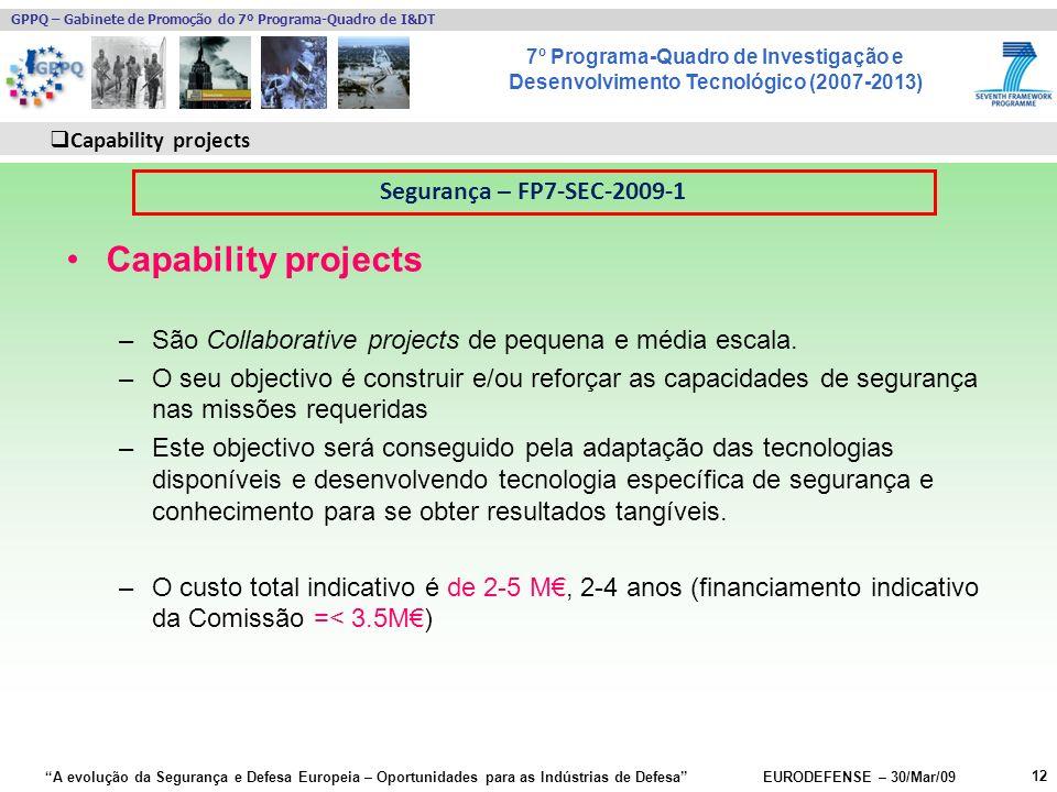 7º Programa-Quadro de Investigação e Desenvolvimento Tecnológico (2007-2013) GPPQ – Gabinete de Promoção do 7º Programa-Quadro de I&DT A evolução da Segurança e Defesa Europeia – Oportunidades para as Indústrias de Defesa EURODEFENSE – 30/Mar/09 Capability projects –São Collaborative projects de pequena e média escala.