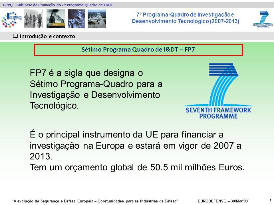 7º Programa-Quadro de Investigação e Desenvolvimento Tecnológico (2007-2013) GPPQ – Gabinete de Promoção do 7º Programa-Quadro de I&DT A evolução da Segurança e Defesa Europeia – Oportunidades para as Indústrias de Defesa EURODEFENSE – 30/Mar/09 Contactos relevantes: EU Security research website –http://ec.europa.eu/enterprise/securityhttp://ec.europa.eu/enterprise/security Helpdesk –Centralised FP7 Enquiries Service http://ec.europa.eu/research/enquiries entr-security-research@ec.europa.eu Pontos de Contacto Nacionais –http://cordis.europa.eu/fp7/ncp_en.htmlhttp://cordis.europa.eu/fp7/ncp_en.html –http://www.seren-project.euhttp://www.seren-project.eu 44 Mais informação Segurança – FP7-SEC-2009-1