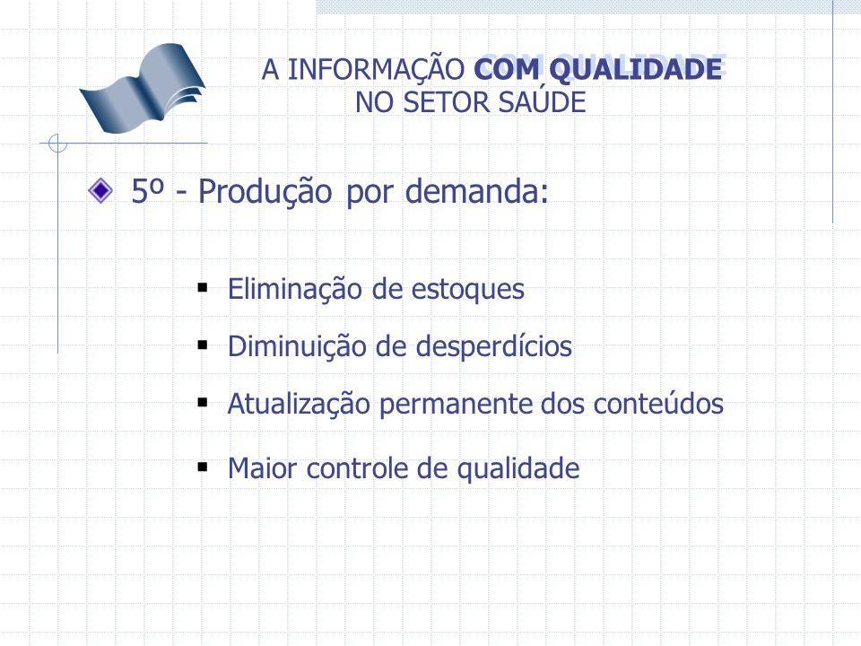 COM QUALIDADE A INFORMAÇÃO NO SETOR SAÚDE 5º - Produção por demanda: Eliminação de estoques Diminuição de desperdícios Atualização permanente dos cont