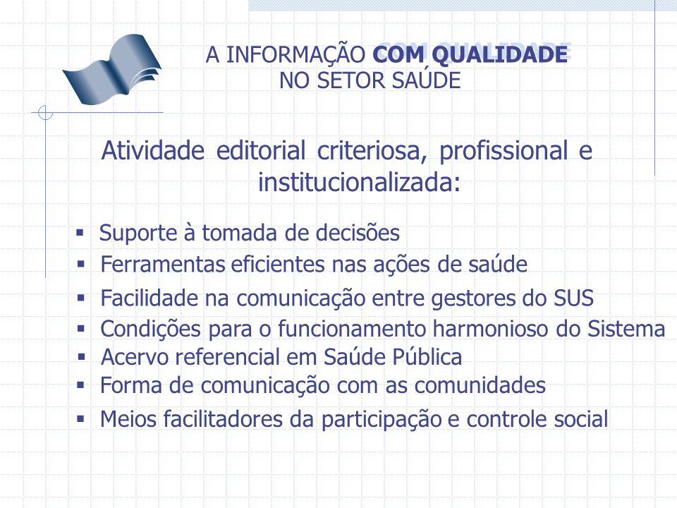 COM QUALIDADE A INFORMAÇÃO NO SETOR SAÚDE Atividade editorial criteriosa, profissional e institucionalizada: Suporte à tomada de decisões Ferramentas