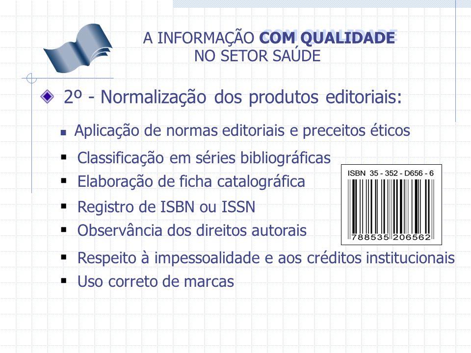 COM QUALIDADE A INFORMAÇÃO NO SETOR SAÚDE 2º - Normalização dos produtos editoriais: Registro de ISBN ou ISSN Elaboração de ficha catalográfica Classi