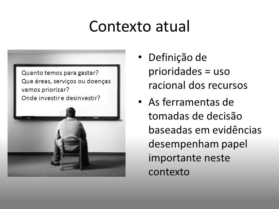 Contexto atual Definição de prioridades = uso racional dos recursos As ferramentas de tomadas de decisão baseadas em evidências desempenham papel impo