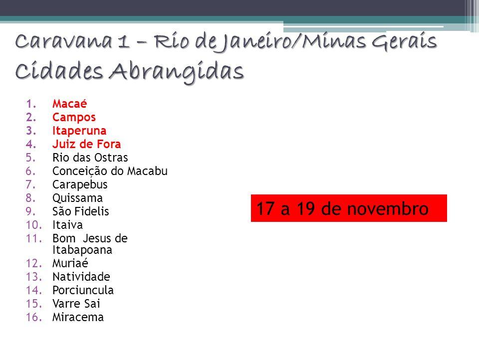 Caravana 1 – Rio de Janeiro/Minas Gerais Cidades Abrangidas 1.Macaé 2.Campos 3.Itaperuna 4.Juiz de Fora 5.Rio das Ostras 6.Conceição do Macabu 7.Carap