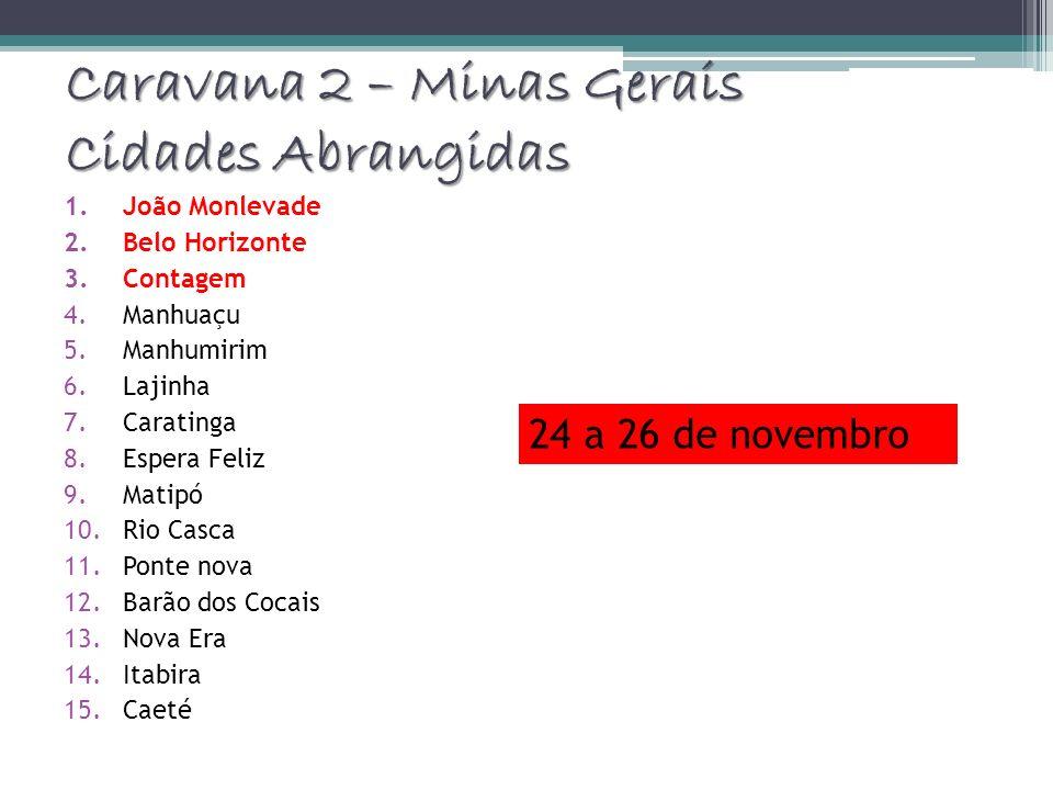 Caravana 2 – Minas Gerais Cidades Abrangidas 1.João Monlevade 2.Belo Horizonte 3.Contagem 4.Manhuaçu 5.Manhumirim 6.Lajinha 7.Caratinga 8.Espera Feliz