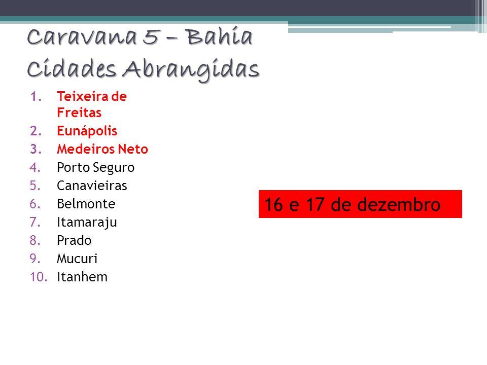 Caravana 5 – Bahia Cidades Abrangidas 1.Teixeira de Freitas 2.Eunápolis 3.Medeiros Neto 4.Porto Seguro 5.Canavieiras 6.Belmonte 7.Itamaraju 8.Prado 9.
