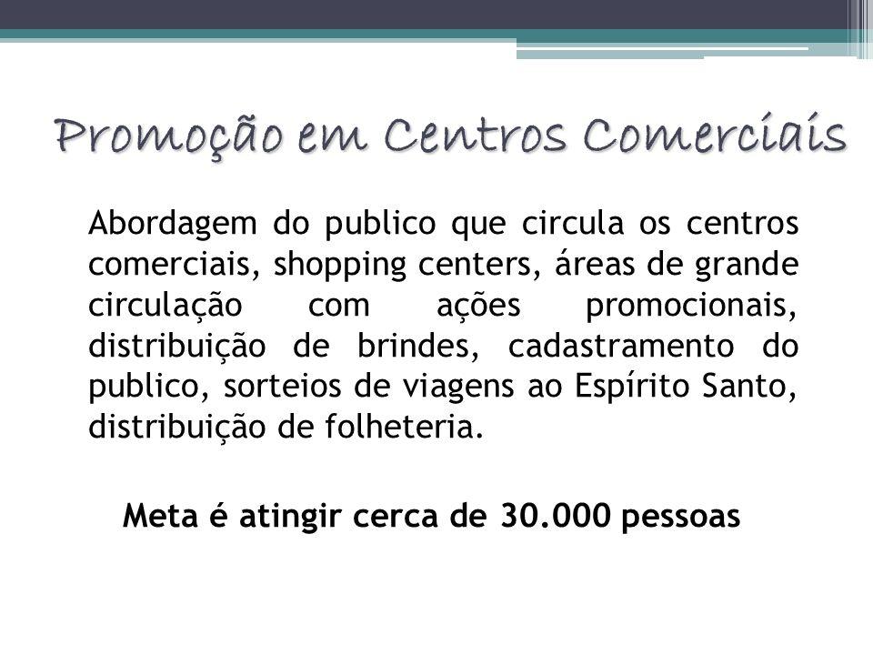 Promoção em Centros Comerciais Abordagem do publico que circula os centros comerciais, shopping centers, áreas de grande circulação com ações promocio