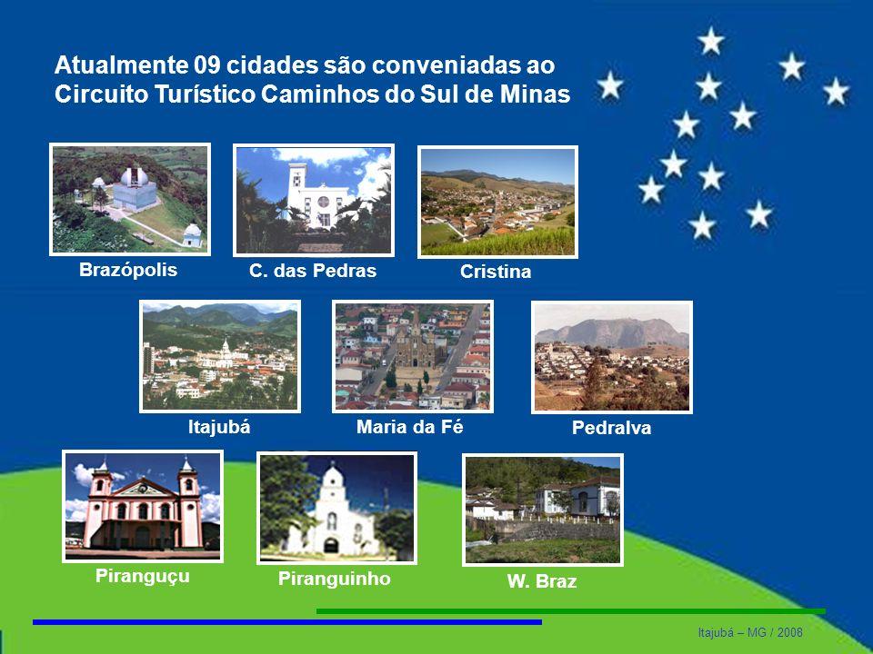 Itajubá – MG / 2008 Atualmente 09 cidades são conveniadas ao Circuito Turístico Caminhos do Sul de Minas Brazópolis C. das PedrasItajubá Cristina Pira