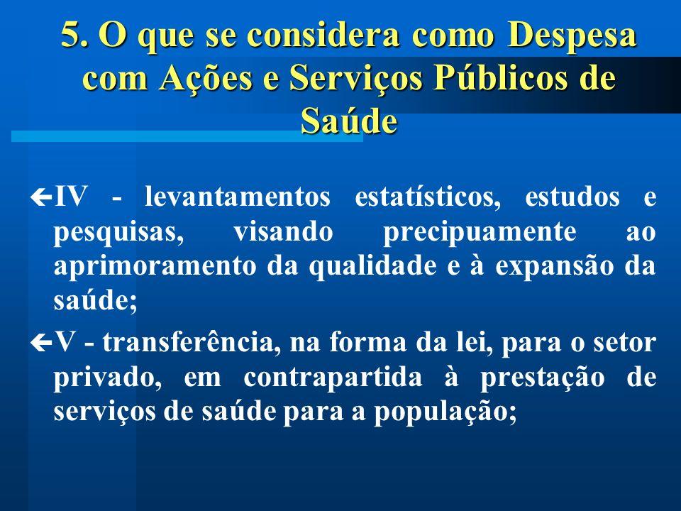 5. O que se considera como Despesa com Ações e Serviços Públicos de Saúde IV - levantamentos estatísticos, estudos e pesquisas, visando precipuamente