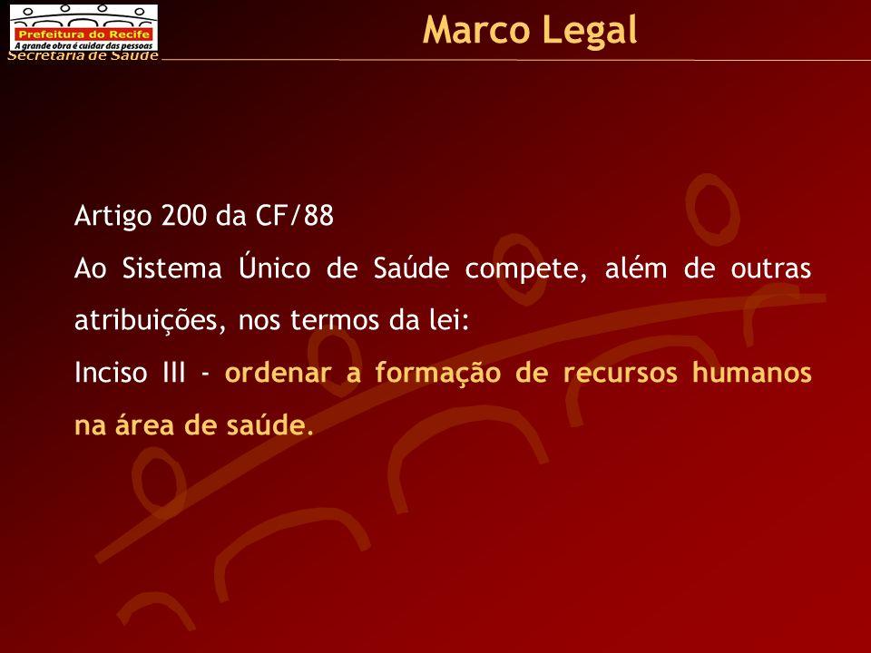 Secretaria de Saúde Marco Legal Artigo 200 da CF/88 Ao Sistema Único de Saúde compete, além de outras atribuições, nos termos da lei: Inciso III - ordenar a formação de recursos humanos na área de saúde.
