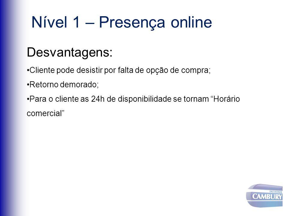 Nível 1 – Presença online Desvantagens: Cliente pode desistir por falta de opção de compra; Retorno demorado; Para o cliente as 24h de disponibilidade