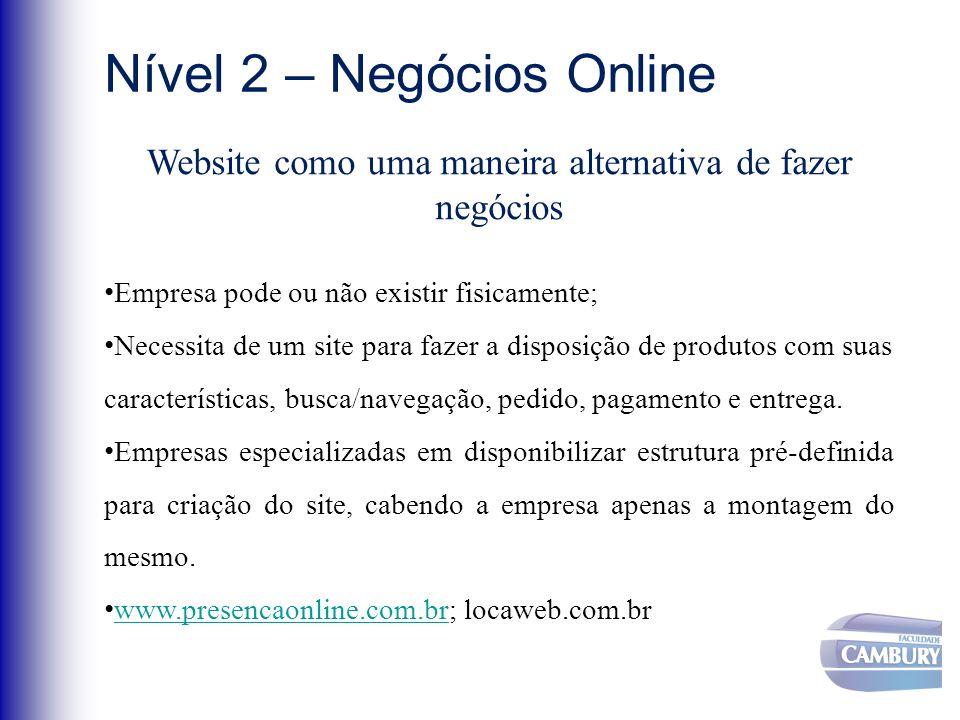 Nível 2 – Negócios Online Website como uma maneira alternativa de fazer negócios Empresa pode ou não existir fisicamente; Necessita de um site para fa