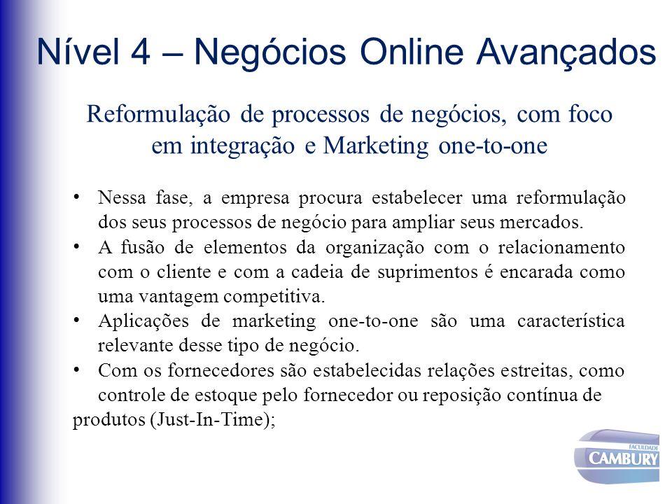 Nível 4 – Negócios Online Avançados Reformulação de processos de negócios, com foco em integração e Marketing one-to-one Nessa fase, a empresa procura