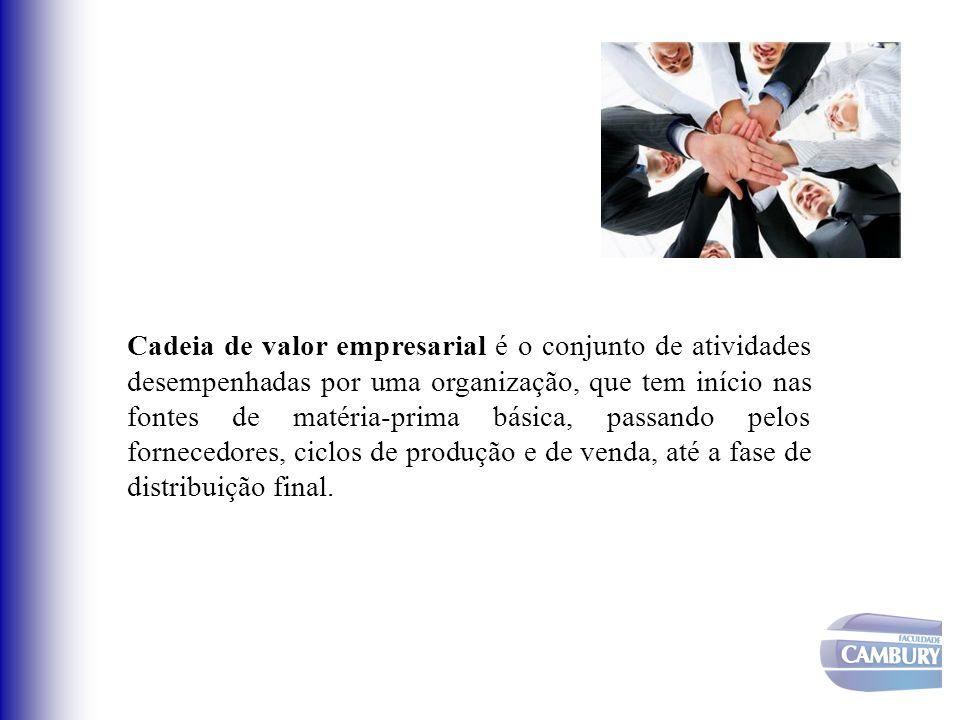 Cadeia de valor empresarial é o conjunto de atividades desempenhadas por uma organização, que tem início nas fontes de matéria-prima básica, passando