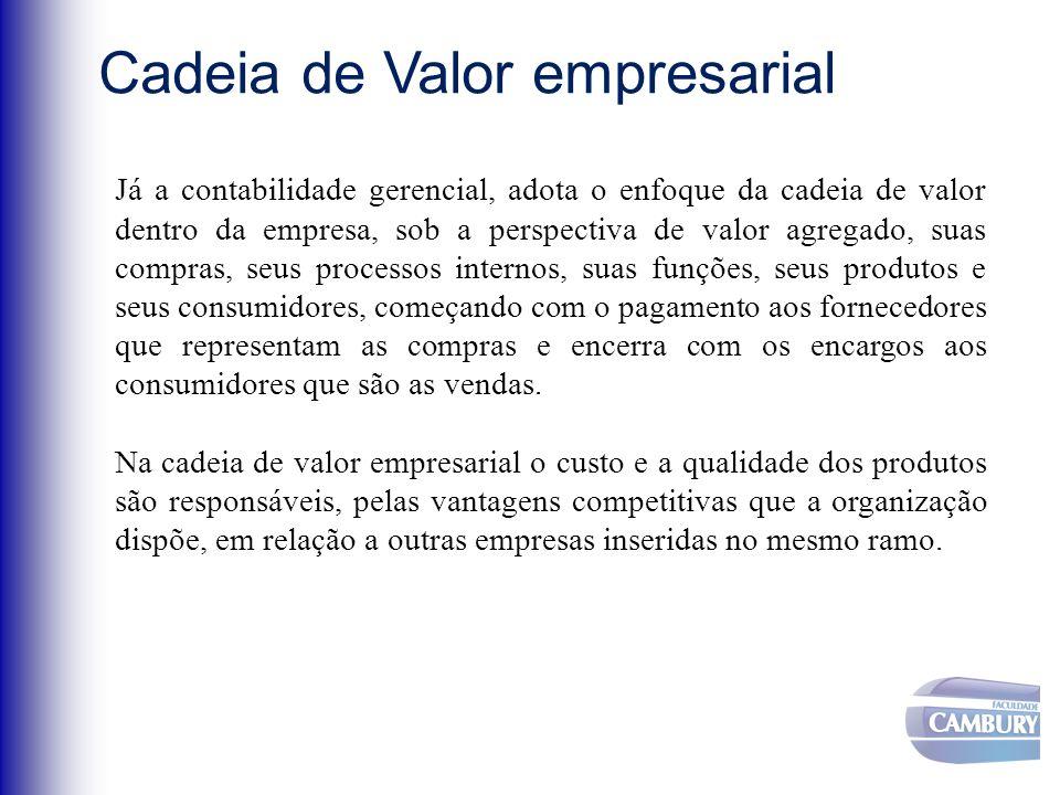Já a contabilidade gerencial, adota o enfoque da cadeia de valor dentro da empresa, sob a perspectiva de valor agregado, suas compras, seus processos