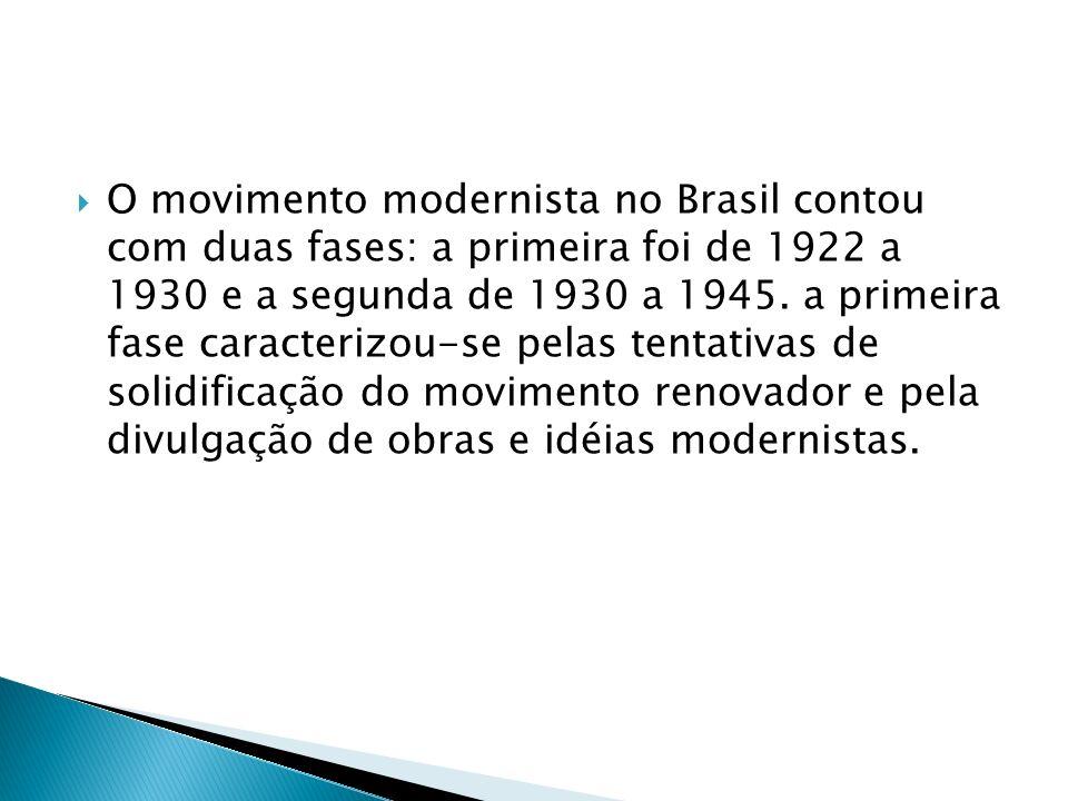 Os escritores de maior destaque dessa fase defendiam estas propostas: reconstrução da cultura brasileira sobre bases nacionais; promoção de uma revisão crítica de nosso passado histórico e de nossas tradições culturais; eliminação definitiva do nosso complexo de colonizados, apegados a valores estrangeiros.
