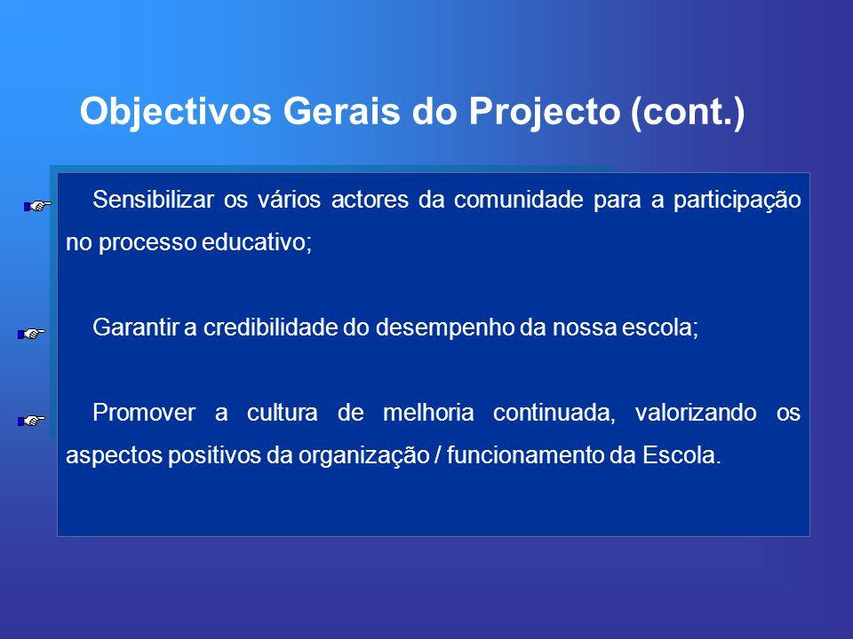Sensibilizar os vários actores da comunidade para a participação no processo educativo; Garantir a credibilidade do desempenho da nossa escola; Promov