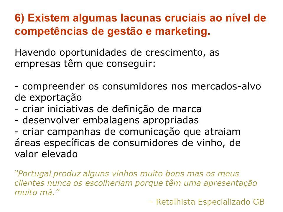 6) Existem algumas lacunas cruciais ao nível de competências de gestão e marketing.