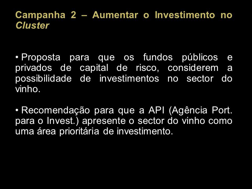 Campanha 2 – Aumentar o Investimento no Cluster Proposta para que os fundos públicos e privados de capital de risco, considerem a possibilidade de investimentos no sector do vinho.