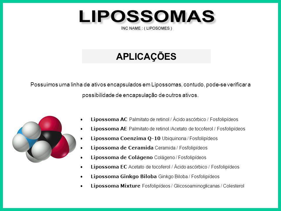 APLICAÇÕES Possuimos uma linha de ativos encapsulados em Lipossomas, contudo, pode-se verificar a possibilidade de encapsulação de outros ativos. Lipo