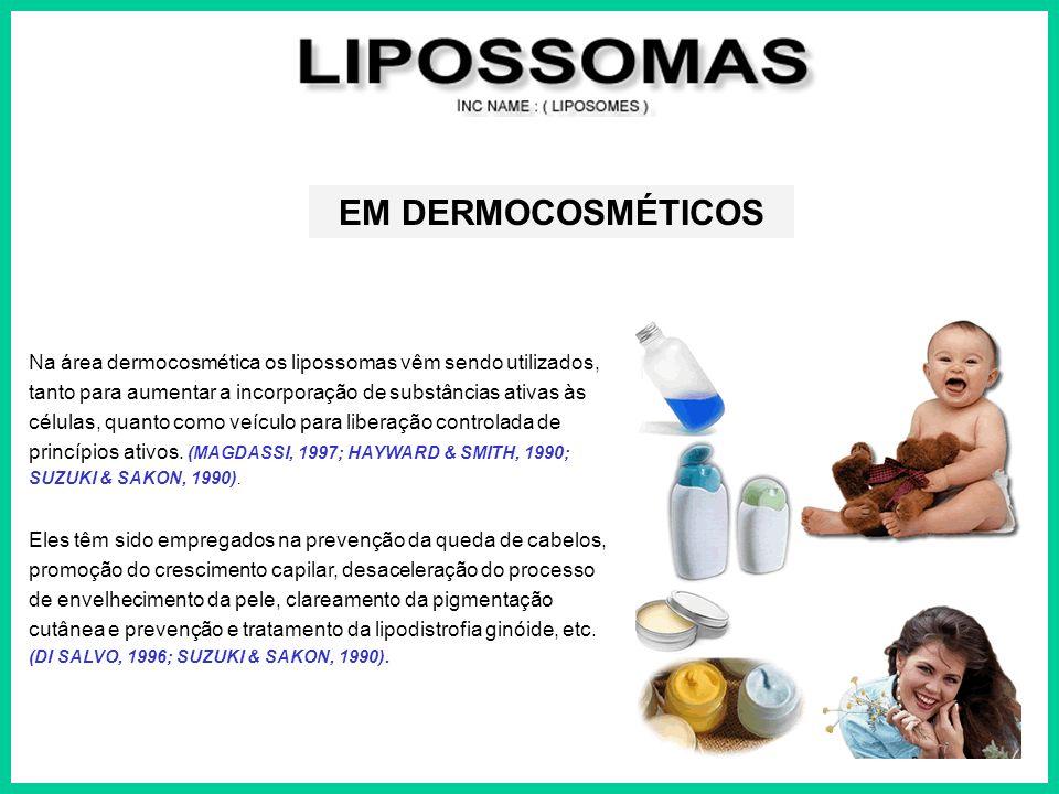 Na área dermocosmética os lipossomas vêm sendo utilizados, tanto para aumentar a incorporação de substâncias ativas às células, quanto como veículo pa