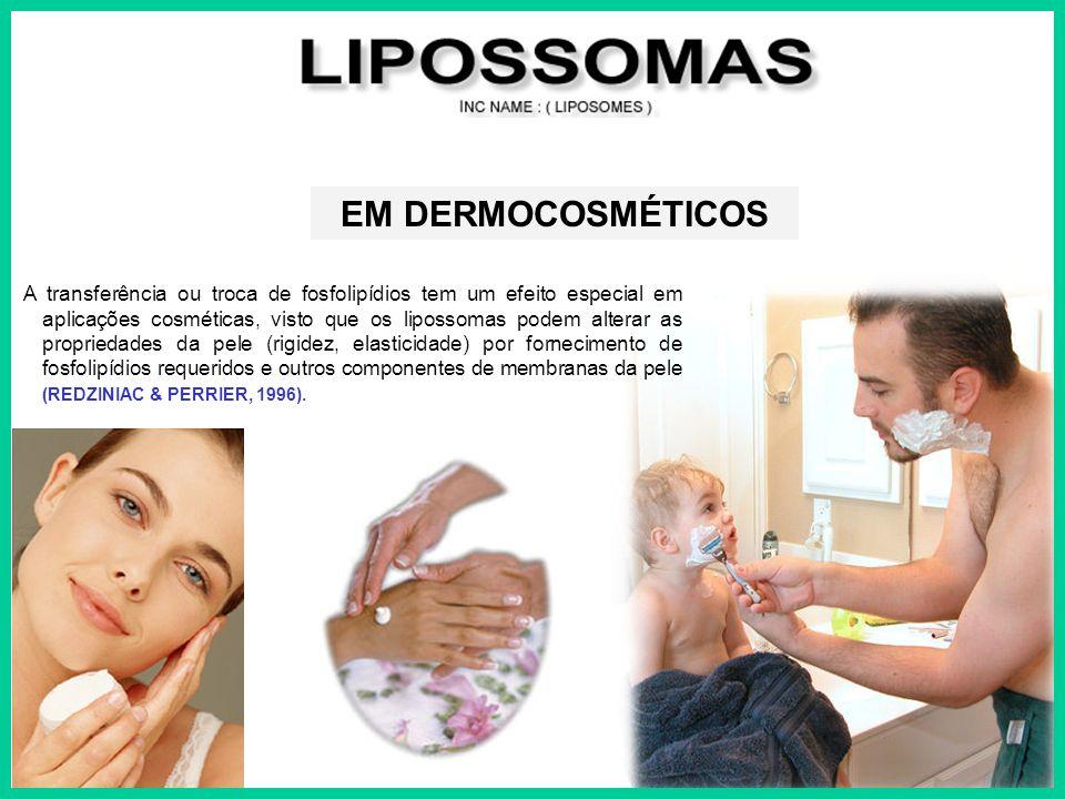 A transferência ou troca de fosfolipídios tem um efeito especial em aplicações cosméticas, visto que os lipossomas podem alterar as propriedades da pe