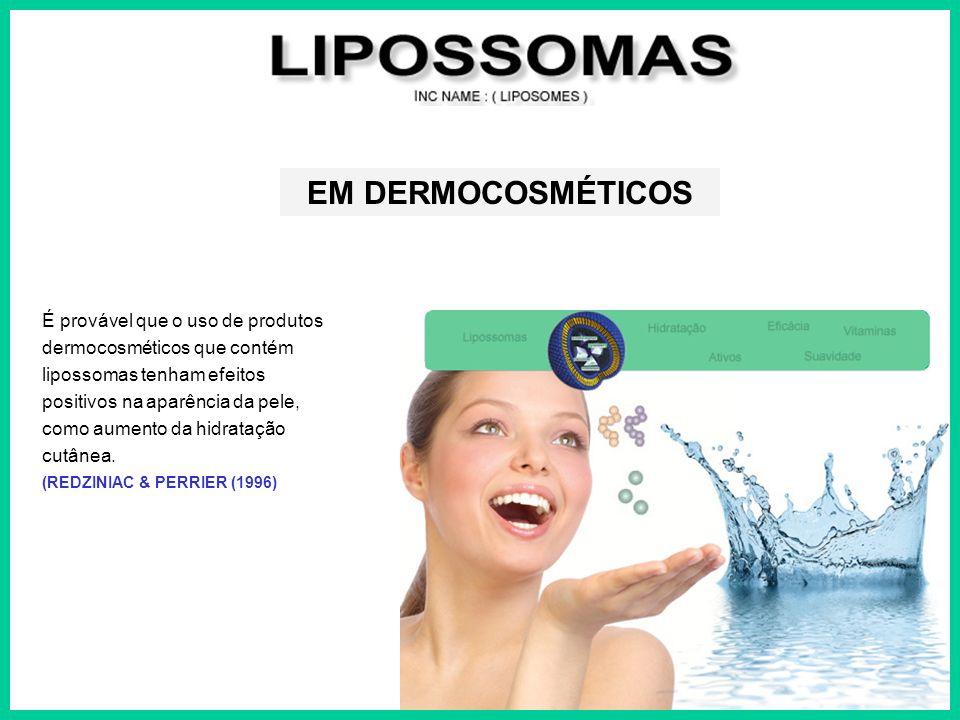 É provável que o uso de produtos dermocosméticos que contém lipossomas tenham efeitos positivos na aparência da pele, como aumento da hidratação cutân