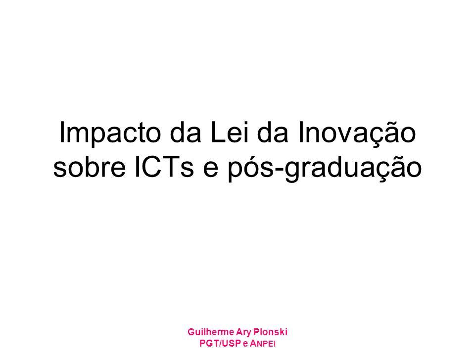 Guilherme Ary Plonski PGT/USP e A NPEI Impacto da Lei da Inovação sobre ICTs e pós-graduação