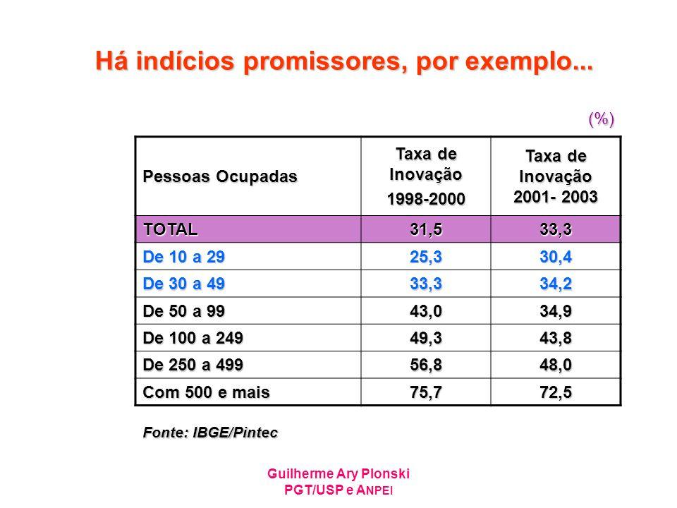 Guilherme Ary Plonski PGT/USP e A NPEI Há indícios promissores, por exemplo... Pessoas Ocupadas Taxa de Inovação 1998-2000 Taxa de Inovação 2001- 2003