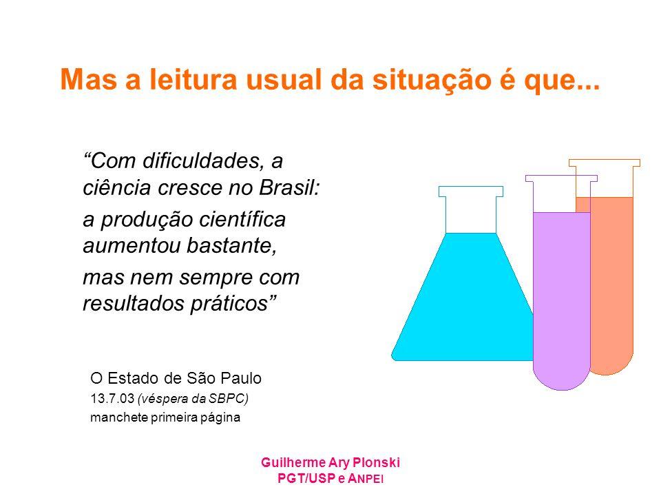 Guilherme Ary Plonski PGT/USP e A NPEI Mas a leitura usual da situação é que... Com dificuldades, a ciência cresce no Brasil: a produção científica au