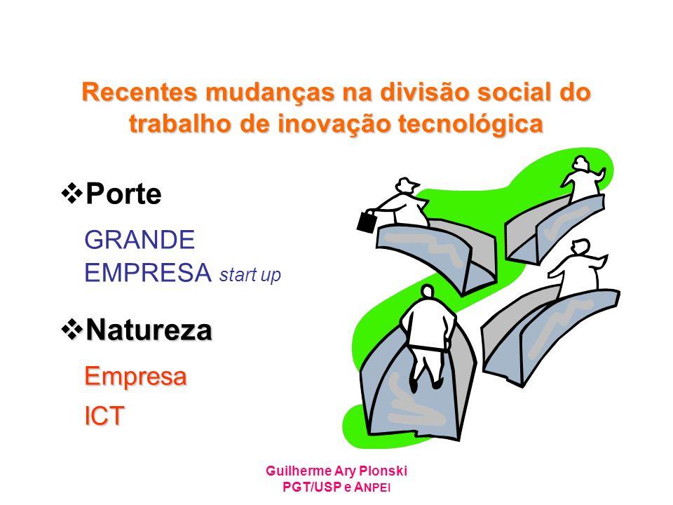 Guilherme Ary Plonski PGT/USP e A NPEI Recentes mudanças na divisão social do trabalho de inovação tecnológica Porte GRANDE EMPRESA start up Natureza