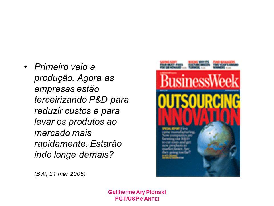 Guilherme Ary Plonski PGT/USP e A NPEI Primeiro veio a produção. Agora as empresas estão terceirizando P&D para reduzir custos e para levar os produto