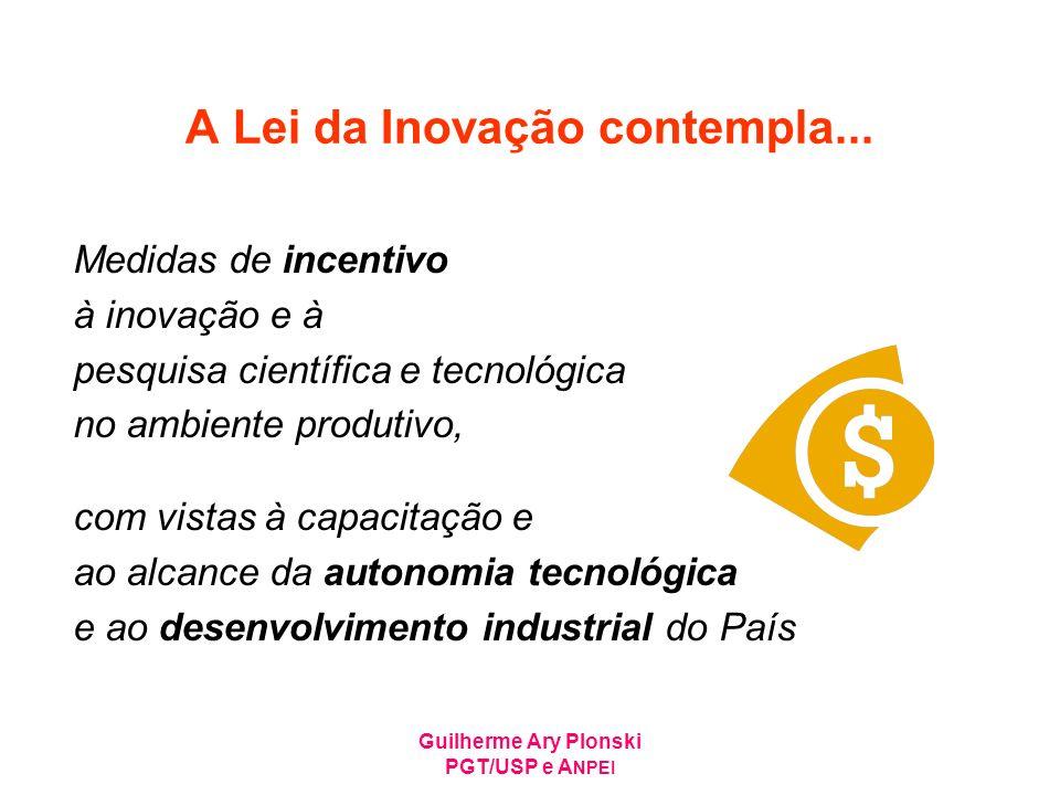 Guilherme Ary Plonski PGT/USP e A NPEI A Lei da Inovação contempla... Medidas de incentivo à inovação e à pesquisa científica e tecnológica no ambient