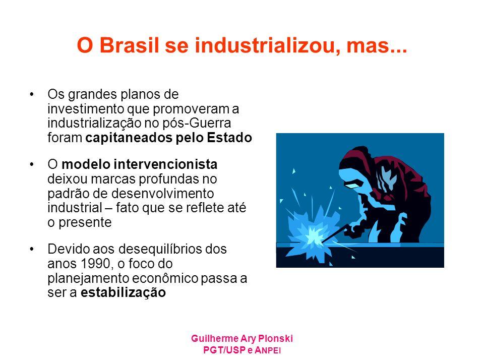 Guilherme Ary Plonski PGT/USP e A NPEI O Brasil se industrializou, mas... Os grandes planos de investimento que promoveram a industrialização no pós-G
