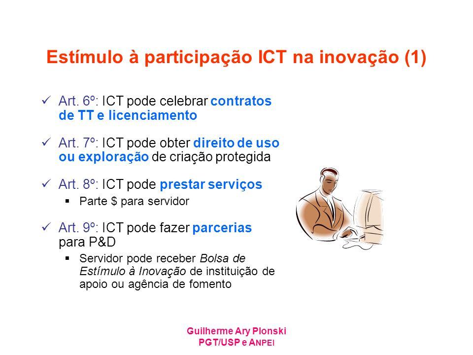 Guilherme Ary Plonski PGT/USP e A NPEI Estímulo à participação ICT na inovação (1) Art. 6º: ICT pode celebrar contratos de TT e licenciamento Art. 7º: