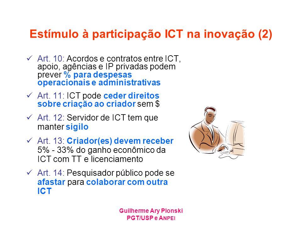 Guilherme Ary Plonski PGT/USP e A NPEI Estímulo à participação ICT na inovação (2) Art. 10: Acordos e contratos entre ICT, apoio, agências e IP privad