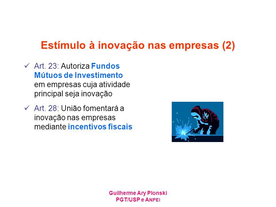 Guilherme Ary Plonski PGT/USP e A NPEI Estímulo à inovação nas empresas (2) Art. 23: Autoriza Fundos Mútuos de Investimento em empresas cuja atividade