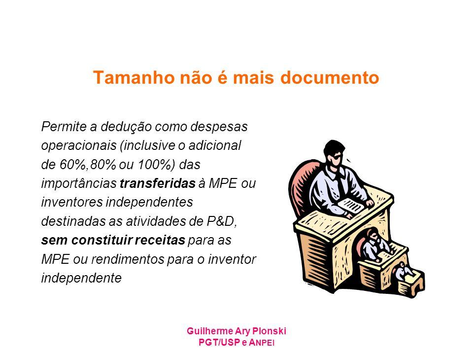 Guilherme Ary Plonski PGT/USP e A NPEI Tamanho não é mais documento Permite a dedução como despesas operacionais (inclusive o adicional de 60%,80% ou