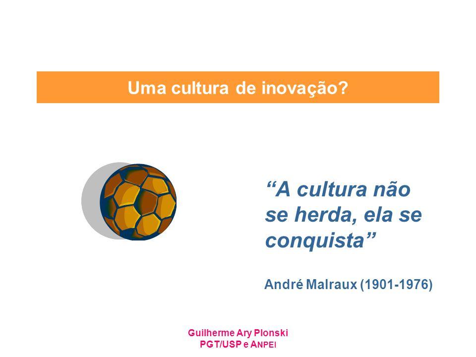 Guilherme Ary Plonski PGT/USP e A NPEI Uma cultura de inovação? A cultura não se herda, ela se conquista André Malraux (1901-1976)