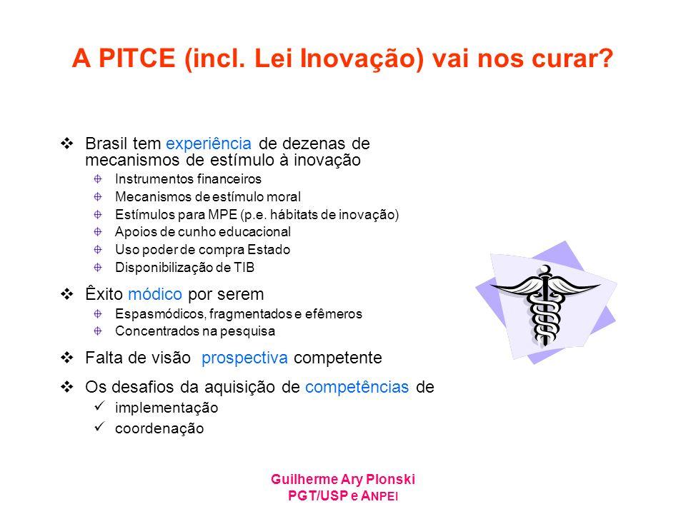 Guilherme Ary Plonski PGT/USP e A NPEI A PITCE (incl. Lei Inovação) vai nos curar? Brasil tem experiência de dezenas de mecanismos de estímulo à inova