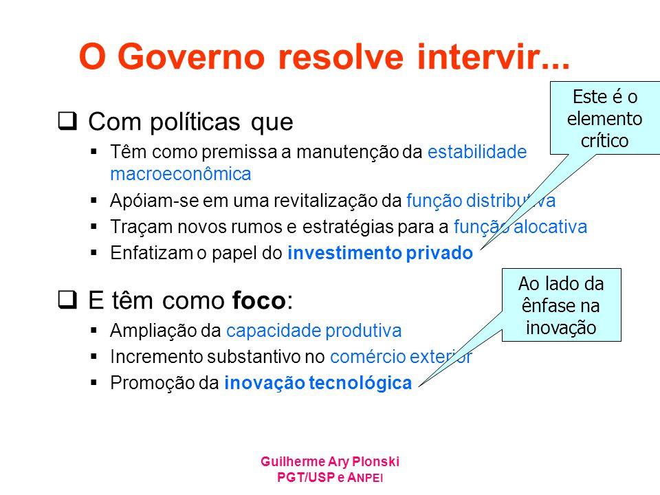 Guilherme Ary Plonski PGT/USP e A NPEI O Governo resolve intervir... Com políticas que Têm como premissa a manutenção da estabilidade macroeconômica A