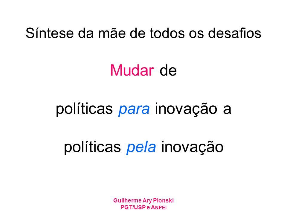 Guilherme Ary Plonski PGT/USP e A NPEI Síntese da mãe de todos os desafios Mudar de políticas para inovação a políticas pela inovação