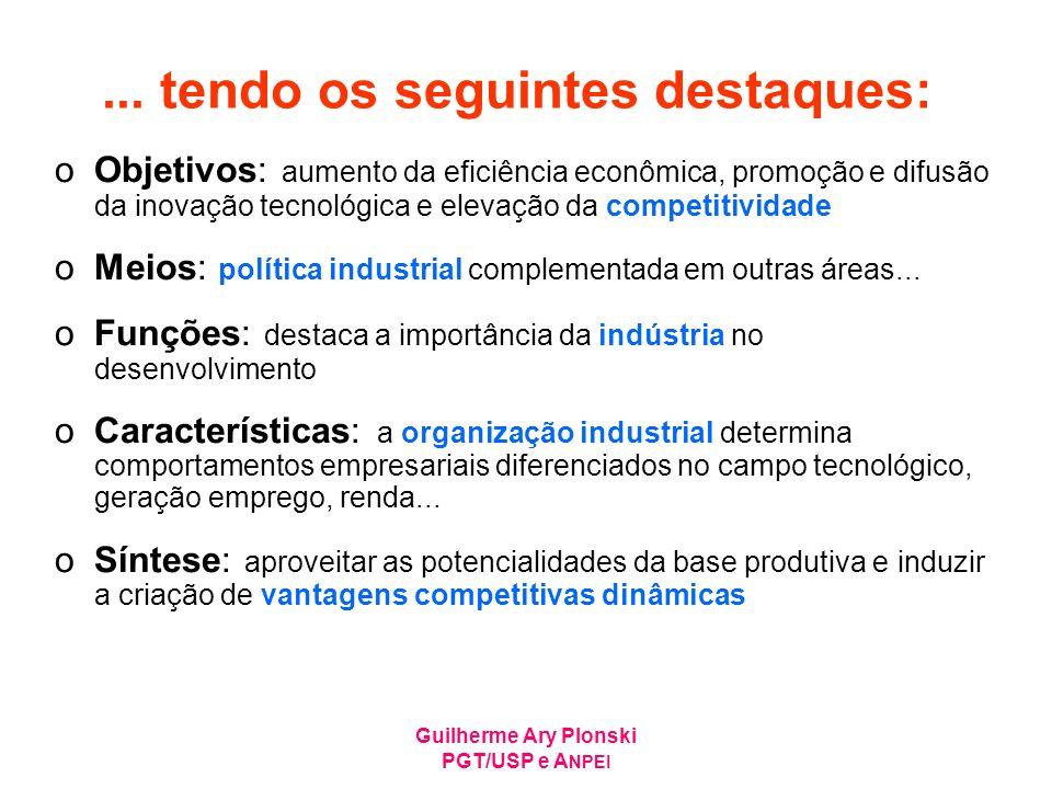 Guilherme Ary Plonski PGT/USP e A NPEI Mas o panorama (ainda) não é bom Referencial para taxa de inovação de1/3 é a própria empresa Quando passa a ser o mercado nacional, a taxa cai para ~4% Ipea (Inovações, padrões tecnológicos e desempenho das firmas industriais brasileiras – mai/05) Empresas que inovam e diferenciam produtos (2% e 26%$) Empresas especializadas em produtos padronizados (21% e 63%$) Empresas que não diferenciam produtos e têm produtividade inferior (77% e 11%$)